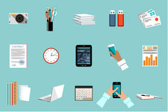 Flat vector set of office things Stock Images
