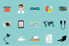 Flat vector set of office things Stock Image
