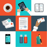 Flat vector set of office things Royalty Free Stock Photo