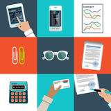 Flat vector set of office things. Royalty Free Stock Image