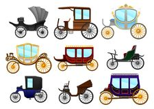 Flat vector set of old horse-drawn carriages. Vintage vehicles for passengers. Royal coach. Collection of old horse-drawn carriages. Vintage vehicles for vector illustration