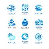 Flat vector set of original aqua logos. Abstract blue emblems for water delivery companies. Elements for advertising stock illustration