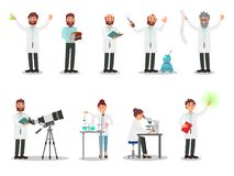 Flat vector set of people scientists. Men and women in white coats. Professionals working in laboratories. Elements for stock illustration