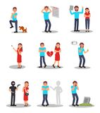 Flat vector set of people in various stressed situations. Cartoon characters of young men and women with different royalty free illustration