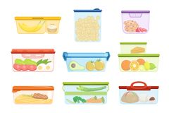 Flat vector set of plastic containers with food vegetables, fruits, sweets, macaroni. Dessert for lunch. Mashed potatoes. Set of plastic containers with various royalty free illustration