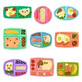 Flat vector set of plastic lunch boxes with food. Containers with meal. Mashed potatoes, fried eggs, rice, fruits and. Collection of plastic lunch boxes with vector illustration
