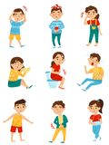 Flat vector set of sick children. Little boys and girls with different sicknesses. Cold, tooth pain, allergy or royalty free illustration