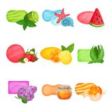 Flat vector set of soap with different aromas: sea freshness, watermelon, lime, strawberry, lemon, orange, aloe, honey. Set of soap with different aromas: sea Royalty Free Stock Photos