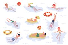 Flat vector set of swimming people. Young boys and girls in swimwear. Active recreation at sea. Summer holiday. Set of swimming people. Young boys and girls in stock illustration