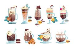 Flat vector set of tasty coffee drinks in transparent cups and glasses. Delicious hot and chilled beverages with. Set of tasty coffee drinks in transparent cups vector illustration