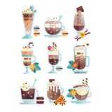 Flat vector set of tasty coffee drinks in transparent cups and glasses. Delicious hot and chilled beverages with. Set of tasty coffee drinks in transparent cups stock illustration