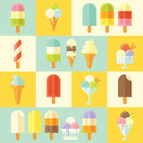 Flat vector set of tasty summer ice creams. Royalty Free Stock Photography