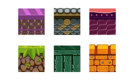 Flat vector set of 6 texture types and materials for platform game. Dry soil with grass, bricks and stones. Gaming. Set of 6 different texture types and royalty free illustration