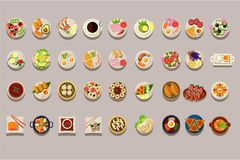 Flat vector set of various dishes. Detailed food icons. Coffee and green tea. Culinary theme. Delicious meal. Elements. Collection of various dishes. Detailed royalty free illustration