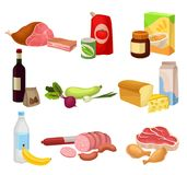 Flat vector set of various groceries. Fresh meat sausages and chicken , natural vegetables, dairy products. Healthy stock illustration