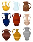 Flat vector set of various jugs. Glass pitcher for water. Antique ceramic vases. Large vessels for liquids. Decorative. Set of various jugs. Glass pitcher for stock illustration