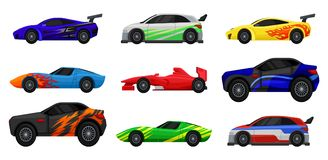 Flat vector set of various racing cars. Fast sports automobiles. Side view. Elements for advertising poster, mobile or. Collection of various racing cars. Fast Stock Images