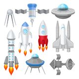Flat vector set of various spacecrafts. Rockets with engine fire, large space shuttle, alien flying saucers and stock illustration