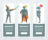 Flat vector set of vertical banners with medieval knights posing in full armor. Guardians of the kingdom. Vector set of vertical banners with medieval knights Royalty Free Stock Photography