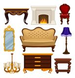 Flat vector set of vintage furniture. Antique sofa and chair, classic fireplace, table and wooden nightstand, wall. Set of vintage furniture. Antique sofa and vector illustration