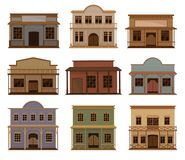 Flat vector set of western houses. Old wild west saloons. Wooden buildings with swinging doors and porches stock illustration