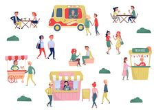 Flat vector set of young people and street fast food. Coffee break and lunch time. Ice-cream cart, hot-dog truck, stall vector illustration
