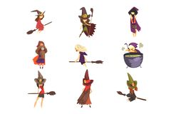 Flat vector set of young witches in different actions. Flying on brooms, cooking potion and posing. Girls in cone hats. Set of young witches in different actions vector illustration