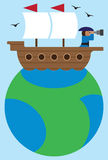 Flat Vector Ship on Globe. Cartoon captain of old time sailing ship exploring horizon with telescope Stock Images