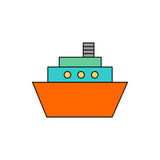 Flat Vector Ship Icon. Flat line colorful ship icon on white background. Isolated ship icon for use in variety of projects. Minimal vector ship icon for web royalty free illustration