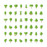 Flat vector simple trees bundle in flat style Royalty Free Stock Images