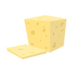 Flat vector sliced fresh white cheese from cow`s or goat`s milk Stock Photography