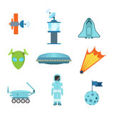 Flat vector space alien web app icons: satellite spaceship UFO. Flat style modern space alien objects web app concept icon set. Satellite Mission Control Centre royalty free stock photography