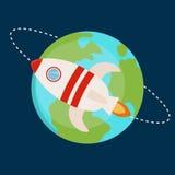 Flat vector space rocket illustration. Startup concept royalty free illustration