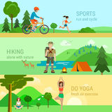 Flat vector sport outdoor activities bicycle running yoga hiking. Flat style modern set of sport outdoor activities. Cycling bicycle running do yoga hiking alone Stock Photos