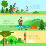 Flat vector sport outdoor activities bicycle running yoga hiking Stock Photos