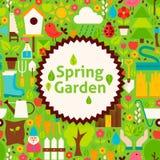 Flat Vector Spring Garden Green Poster Postcard Stock Photography
