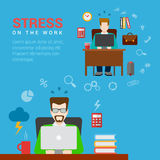 Flat vector stress on the work office workplace infographic Royalty Free Stock Photo