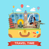 Flat vector suitcase famous sights landmarks travel tourism. Flat style open suitcase with famous sights of the world travel tourism concept infographics vector Stock Image