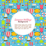 Flat Vector Summer Holidays Background Royalty Free Stock Images