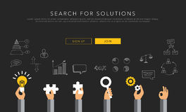Flat vector template search for solutions Stock Photography