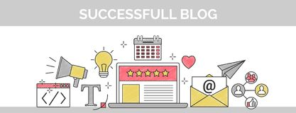 Flat vector thin line scribble header banner illustration of how to establish a successful 5 star blog. It includes: newsletter, s. Flat vector thin line header Royalty Free Stock Image