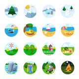 Flat vector travel tourism icon set: beach mountain snow sea Stock Image