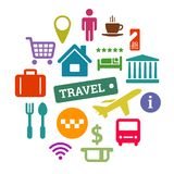 Flat vector travel related icons set Royalty Free Stock Image