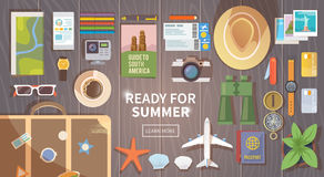 Flat vector travel web banner Stock Images