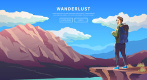 Flat vector travel web banner. Wanderlust. Stock Photo