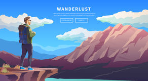 Flat vector travel web banner. Wanderlust. Stock Photography
