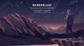 Flat vector travel web banner. Wanderlust. Royalty Free Stock Photos