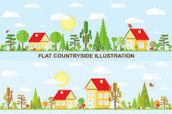 Flat vector tree and house illustration Royalty Free Stock Images