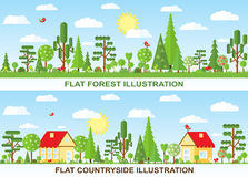 Flat vector tree and house illustration Royalty Free Stock Photo