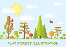 Flat vector tree illustration, autumn Royalty Free Stock Photography